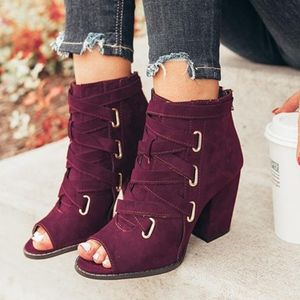 Shoes - NYA Lace up Bootie - WINE